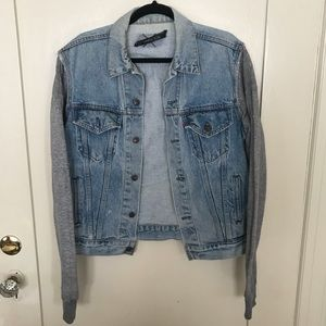 Reformation Jean Jacket with sweater sleeves